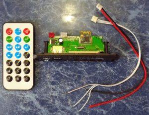لوازم همراه با برد فلش خور ریموت کنترل و سوکت و سیم های نصب
